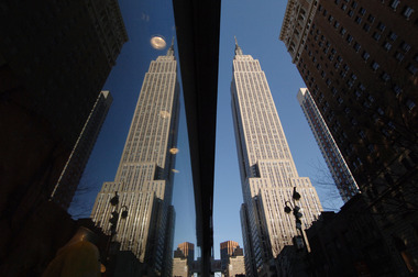 Empire State Building and reflection