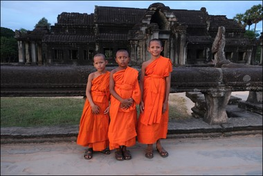 Young Buddhist monks at Angkor Wat, Cambodia