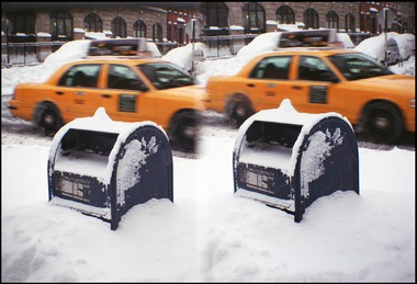 Snowy Mail-box and Taxi in NYC